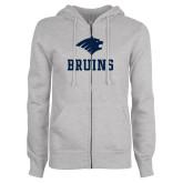 ENZA Ladies Grey Fleece Full Zip Hoodie-Mascot Bruins Stacked
