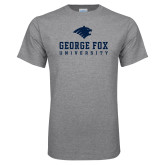 Grey T Shirt-George Fox University w/ Bruin Head