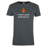 Ladies Dark Heather T Shirt-Portland Seminary Stacked