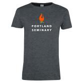 Ladies Dark Heather T Shirt-Portland Seminary Stacked