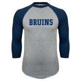 Grey/Navy Raglan Baseball T Shirt-Bruins