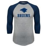 Grey/Navy Raglan Baseball T Shirt-Mascot Bruins Stacked