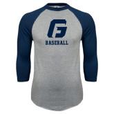 Grey/Navy Raglan Baseball T Shirt-Baseball