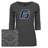 Ladies Charcoal Heather Tri Blend Lace 3/4 Sleeve Tee-G