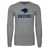 Grey Long Sleeve T Shirt-Mascot Bruins Stacked