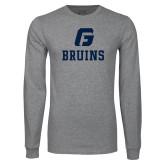 Grey Long Sleeve T Shirt-G Bruins Stacked