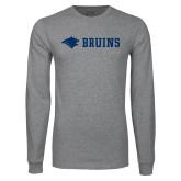 Grey Long Sleeve T Shirt-Bear Head Bruins Flat