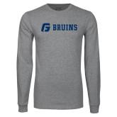 Grey Long Sleeve T Shirt-G Bruins Flat