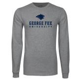 Grey Long Sleeve T Shirt-George Fox University w/ Bruin Head