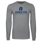 Grey Long Sleeve T Shirt-George Fox University w/ G