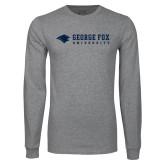 Grey Long Sleeve T Shirt-George Fox University w/ Bear Flat