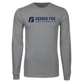 Grey Long Sleeve T Shirt-George Fox University w/ G Flat