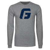 Grey Long Sleeve T Shirt-G Distressed