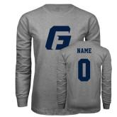 Grey Long Sleeve T Shirt-G, Custom Tee w/ Name and #