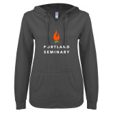 ENZA Ladies Dark Heather V-Notch Raw Edge Fleece Hoodie-Portland Seminary Stacked