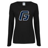 Ladies Black Long Sleeve V Neck T Shirt-G