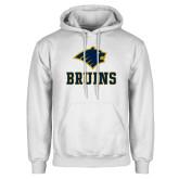 White Fleece Hoodie-Mascot Bruins Stacked