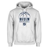 White Fleece Hoodie-Basketball Design