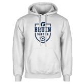 White Fleece Hoodie-Soccer Design
