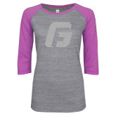 ENZA Ladies Athletic Heather/Violet Vintage Baseball Tee-G White Soft Glitter