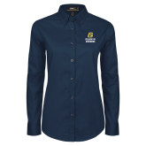 Ladies Navy Twill Button Down Long Sleeve-College of Business