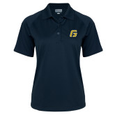 Ladies Navy Textured Saddle Shoulder Polo-G