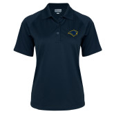 Ladies Navy Textured Saddle Shoulder Polo-Bear Head