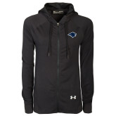 Ladies Under Armour Black Varsity Full Zip Hoodie-Bear Head