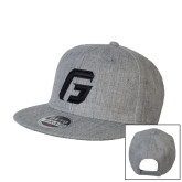 Heather Grey Wool Blend Flat Bill Snapback Hat-G