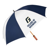 62 Inch Navy/White Vented Umbrella-College of Business