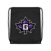 Black Drawstring Backpack-Goshen Leaf