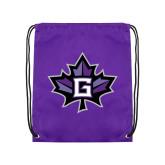 Purple Drawstring Backpack-Goshen Leaf