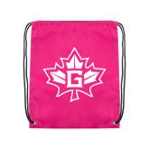 Pink Drawstring Backpack-Goshen Leaf