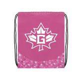 Nylon Pink Bubble Patterned Drawstring Backpack-Goshen Leaf