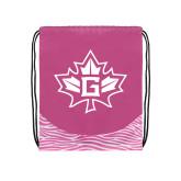 Nylon Zebra Pink/White Patterned Drawstring Backpack-Goshen Leaf