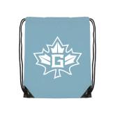 Light Blue Drawstring Backpack-Goshen Leaf