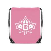 Light Pink Drawstring Backpack-Goshen Leaf