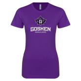 Next Level Ladies SoftStyle Junior Fitted Purple Tee-Goshen Leaf and Wordmark