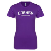 Next Level Ladies SoftStyle Junior Fitted Purple Tee-Goshen Maple Leafs
