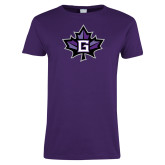 Ladies Purple T Shirt-Goshen Leaf