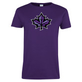 Ladies Purple T Shirt-Maple Leaf