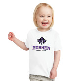 Toddler White T Shirt-Goshen Leaf and Wordmark