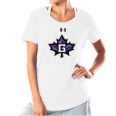 Ladies Under Armour White Charged Cotton Tee-Goshen Leaf