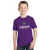 Youth Purple T Shirt-Goshen Leaf and Wordmark
