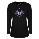 Ladies Syntrel Performance Black Longsleeve Shirt-Goshen Leaf