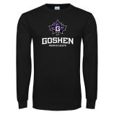 Black Long Sleeve T Shirt-Goshen Leaf and Wordmark