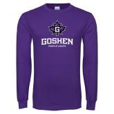 Purple Long Sleeve T Shirt-Goshen Leaf and Wordmark