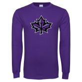Purple Long Sleeve T Shirt-Maple Leaf
