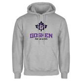Grey Fleece Hoodie-Goshen Leaf and Wordmark