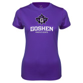 Ladies Syntrel Performance Purple Tee-Goshen Leaf and Wordmark